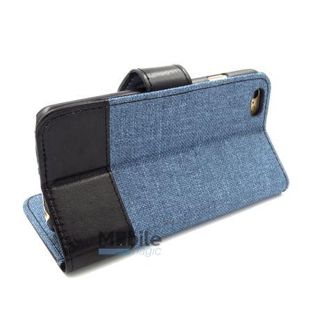 iPhone 6S Plus / 6 Plus Stoff Leder Hülle Etui Flipcase Cover Case Tasche Canvas Kartenfach BLAU – Bild 4