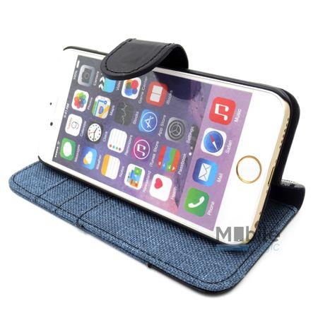 iPhone 6S Plus / 6 Plus Stoff Leder Hülle Etui Flipcase Cover Case Tasche Canvas Kartenfach BLAU – Bild 5