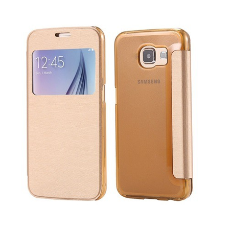 Samsung Galaxy S6 Window View Cover Flip Etui Fenster Hülle Leder Case Tasche GOLD – Bild 3