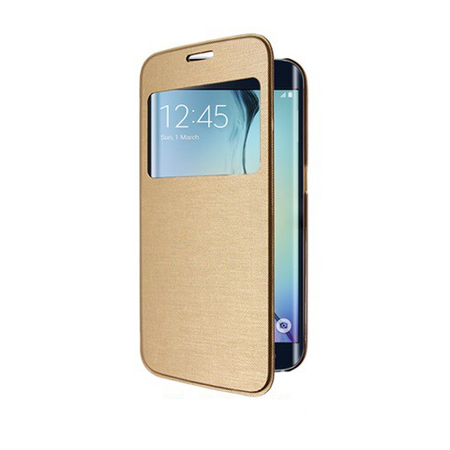 Samsung Galaxy S6 Window View Cover Flip Etui Fenster Hülle Leder Case Tasche GOLD – Bild 4