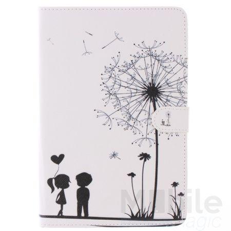 iPad Mini 1 / 2 / 3 Leder Etui Hülle Pusteblume Junge & Mädchen Case WEISS – Bild 1