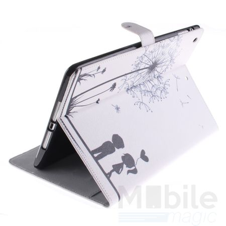 iPad 2 / 3 / 4 Leder Etui Hülle Pusteblume Junge & Mädchen Case WEISS – Bild 5