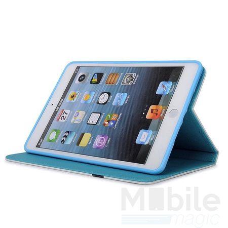 iPad Mini 4 Leder Hülle Case Flip Etui Eule Tasche BLAU – Bild 3