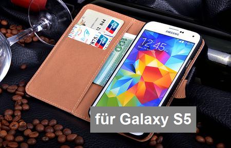Samsung Galaxy S5 Flip Etui Hülle Leder Case Tasche mit Kartenfach SCHWARZ – Bild 5