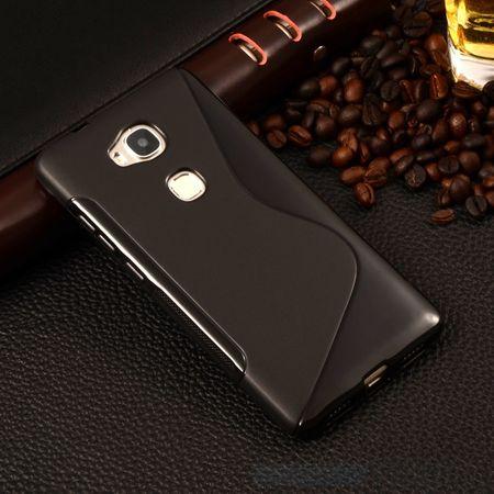 Huawei Honor 5X S-Line TPU Gummi Silikon Case Welle Hülle SCHWARZ – Bild 2