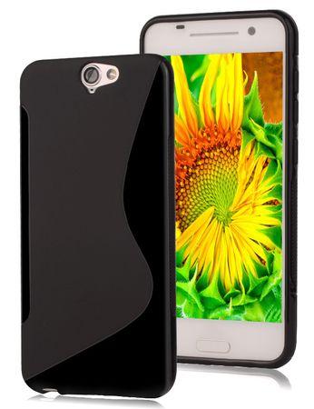 HTC One A9S S-Line TPU Gummi Silikon Case Welle Hülle SCHWARZ – Bild 1