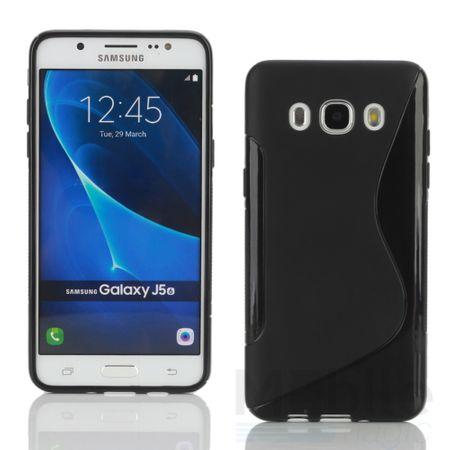 Samsung Galaxy J1 2016 S-Line TPU Gummi Silikon Case Welle Hülle SCHWARZ