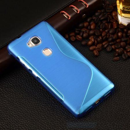 Huawei Honor 5C S-Line TPU Gummi Silikon Case Welle Hülle BLAU – Bild 1
