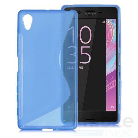 Sony Xperia XA S-Line TPU Gummi Silikon Case Welle Hülle BLAU