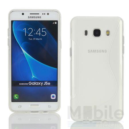 Samsung Galaxy J5 2016 S-Line TPU Gummi Silikon Case Welle Hülle TRANSPARENT
