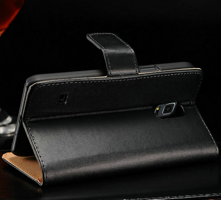 Samsung Galaxy S5 Mini Flip Etui Hülle Leder Case Tasche mit Kartenfach SCHWARZ – Bild 1