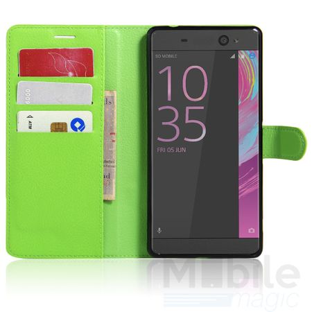 Sony Xperia X Flip Etui Leder Case Tasche Hülle mit Kartenfach GRÜN – Bild 3