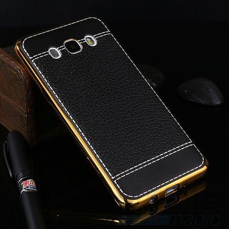 Samsung Galaxy J5 2016 TPU Hülle mit 3D Leder-Optik Design Metallic Gummi Silikon Case Schutzhülle Cover SCHWARZ – Bild 2
