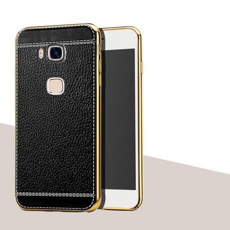 Huawei Honor 5C TPU Hülle mit 3D Leder-Optik Design Metallic Gummi Silikon Case Schutzhülle Cover SCHWARZ – Bild 1
