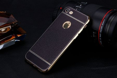 iPhone 7 TPU Hülle mit 3D Leder-Optik Design Metallic Gummi Silikon Case Schutzhülle Cover SCHWARZ – Bild 3
