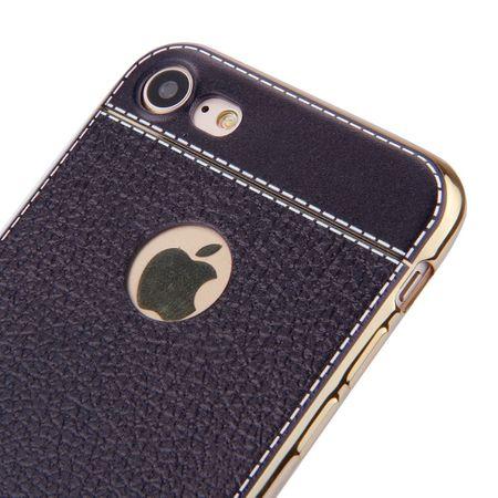 iPhone 7 TPU Hülle mit 3D Leder-Optik Design Metallic Gummi Silikon Case Schutzhülle Cover SCHWARZ – Bild 4