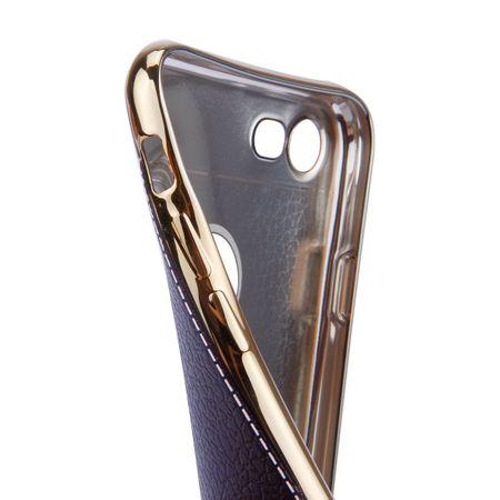 iPhone 7 TPU Hülle mit 3D Leder-Optik Design Metallic Gummi Silikon Case Schutzhülle Cover SCHWARZ – Bild 5