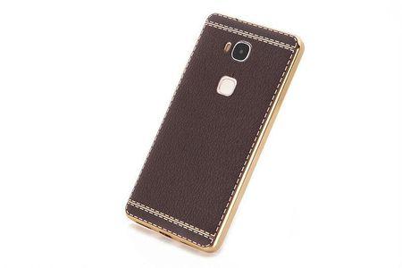 Huawei Honor 5C TPU Hülle mit 3D Leder-Optik Design Metallic Gummi Silikon Case Schutzhülle Cover BRAUN – Bild 4