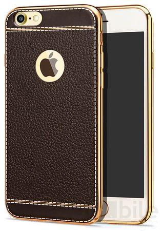 iPhone 6S / 6 TPU Hülle mit 3D Leder-Optik Design Metallic Gummi Silikon Case Schutzhülle Cover BRAUN – Bild 1