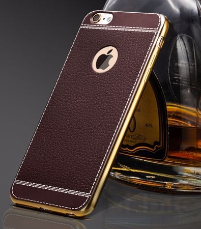 iPhone 6S Plus / 6 Plus TPU Hülle mit 3D Leder-Optik Design Metallic Gummi Silikon Case Schutzhülle Cover BRAUN – Bild 2