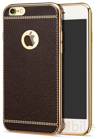iPhone 6S Plus / 6 Plus TPU Hülle mit 3D Leder-Optik Design Metallic Gummi Silikon Case Schutzhülle Cover BRAUN – Bild 1