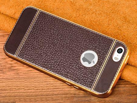 iPhone SE / 5S / 5 TPU Hülle mit 3D Leder-Optik Design Metallic Gummi Silikon Case Schutzhülle Cover BRAUN