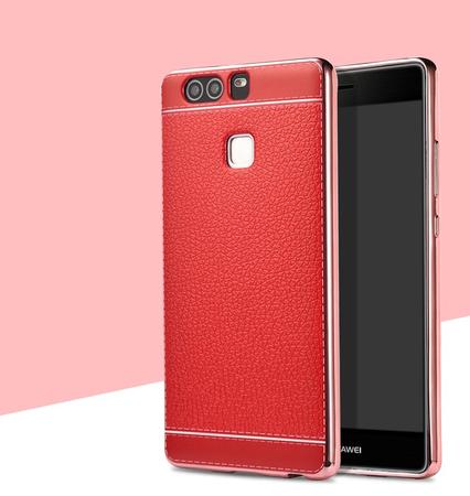 Huawei P9 TPU Hülle mit 3D Leder-Optik Design Metallic Gummi Silikon Case Schutzhülle Cover ROT