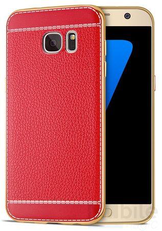 Samsung Galaxy S7 Edge TPU Hülle mit 3D Leder-Optik Design Metallic Gummi Silikon Case Schutzhülle Cover ROT