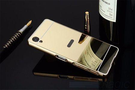 Sony Xperia X Compact Alu-Bumper Mirror mit Spiegel-Rücken Metall Bumper Case Hülle Aluminium GOLD – Bild 2