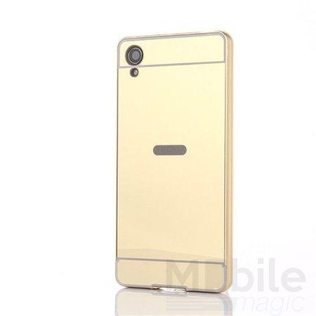 Sony Xperia XA Alu-Bumper Mirror mit Spiegel-Rücken Metall Bumper Case Hülle Aluminium GOLD – Bild 1