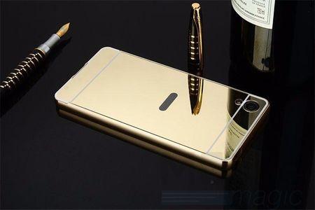 Sony Xperia X Alu-Bumper Mirror mit Spiegel-Rücken Metall Bumper Case Hülle Aluminium GOLD – Bild 3