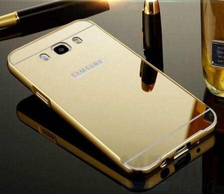 Samsung Galaxy J1 2016 Alu-Bumper Mirror mit Spiegel-Rücken Metall Bumper Case Hülle Aluminium GOLD