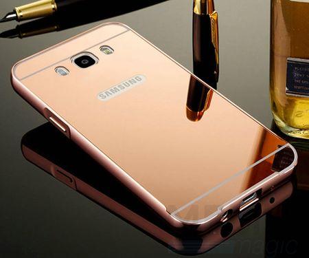 Samsung Galaxy J5 2016 Alu-Bumper Mirror mit Spiegel-Rücken Metall Bumper Case Hülle Aluminium ROSÉGOLD