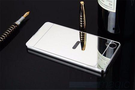 Sony Xperia X Compact Alu-Bumper Mirror mit Spiegel-Rücken Metall Bumper Case Hülle Aluminium SILBER – Bild 2