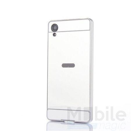Sony Xperia X Compact Alu-Bumper Mirror mit Spiegel-Rücken Metall Bumper Case Hülle Aluminium SILBER – Bild 1