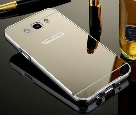 Samsung Galaxy J1 2016 Alu-Bumper Mirror mit Spiegel-Rücken Metall Bumper Case Hülle Aluminium SILBER