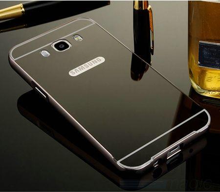 Samsung Galaxy J5 2016 Alu-Bumper Mirror mit Spiegel-Rücken Metall Bumper Case Hülle Aluminium SCHWARZ
