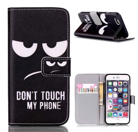 iPhone 7 DON'T TOUCH MY PHONE Leder Etui Flip Hülle Tasche Case SCHWARZ – Bild 1
