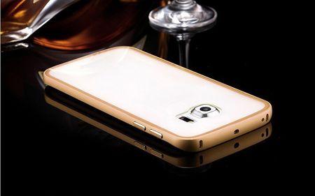 Samsung Galaxy S6 Edge Alu-Bumper Case mit Acrylglas-Rücken Cover Hülle GOLD – Bild 3