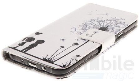 Samsung Galaxy J1 2016 Pusteblume Junge & Mädchen Leder Etui Flip Hülle Case Tasche WEISS – Bild 3