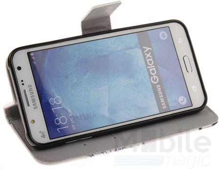 Samsung Galaxy J5 2016 Pusteblume Junge & Mädchen Leder Etui Flip Hülle Case Tasche WEISS – Bild 2