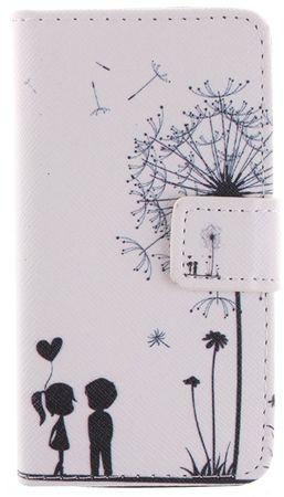 iPhone 7 Pusteblume Junge & Mädchen Leder Etui Flip Hülle Case Tasche WEISS – Bild 1