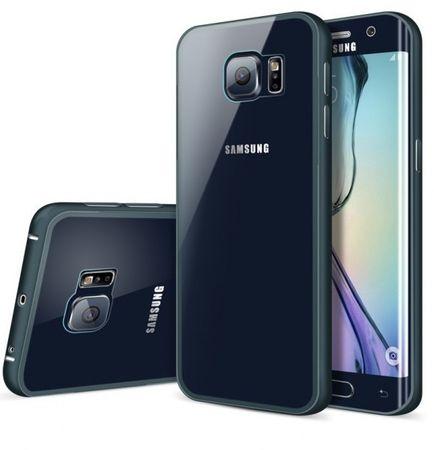 Samsung Galaxy S6 Edge Alu-Bumper Case mit Acrylglas-Rücken Cover Hülle BLAU DUNKELBLAU – Bild 1