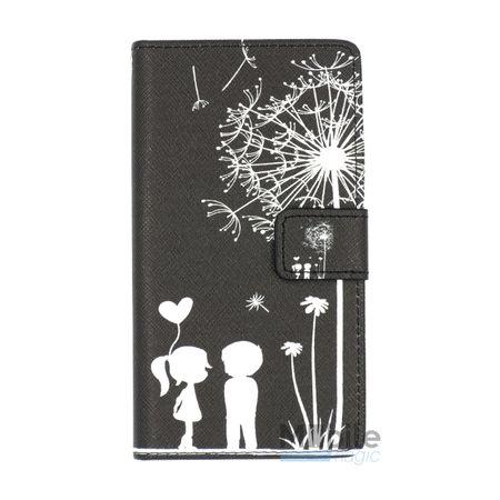 Sony Xperia X Compact Pusteblume Junge & Mädchen Leder Etui Flip Hülle Case Tasche SCHWARZ – Bild 1