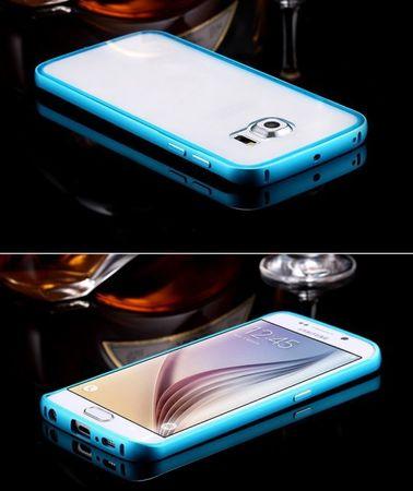 Samsung Galaxy S6 Edge Alu-Bumper Case mit Acrylglas-Rücken Cover Hülle BLAU HELLBLAU – Bild 2