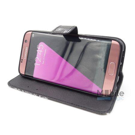 Samsung Galaxy J1 2016 Pusteblume Junge & Mädchen Leder Etui Flip Hülle Case Tasche SCHWARZ – Bild 2