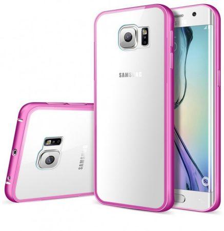 Samsung Galaxy S6 Edge Alu-Bumper Case mit Acrylglas-Rücken Cover Hülle PINK ROSA – Bild 1