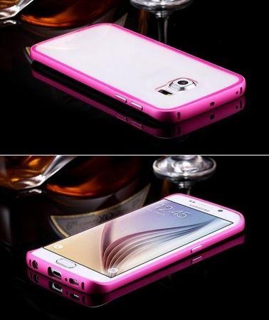 Samsung Galaxy S6 Edge Alu-Bumper Case mit Acrylglas-Rücken Cover Hülle PINK ROSA – Bild 2