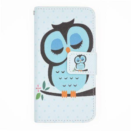 iPhone 7 Leder Etui Eule Tasche Hülle Flip Cover Case BLAU – Bild 1