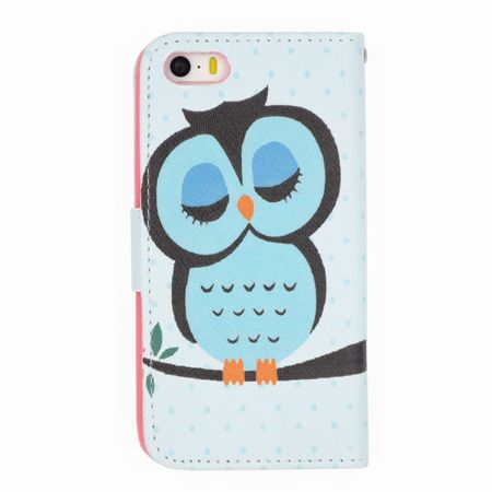iPhone 7 Plus Leder Etui Eule Tasche Hülle Flip Cover Case BLAU – Bild 2